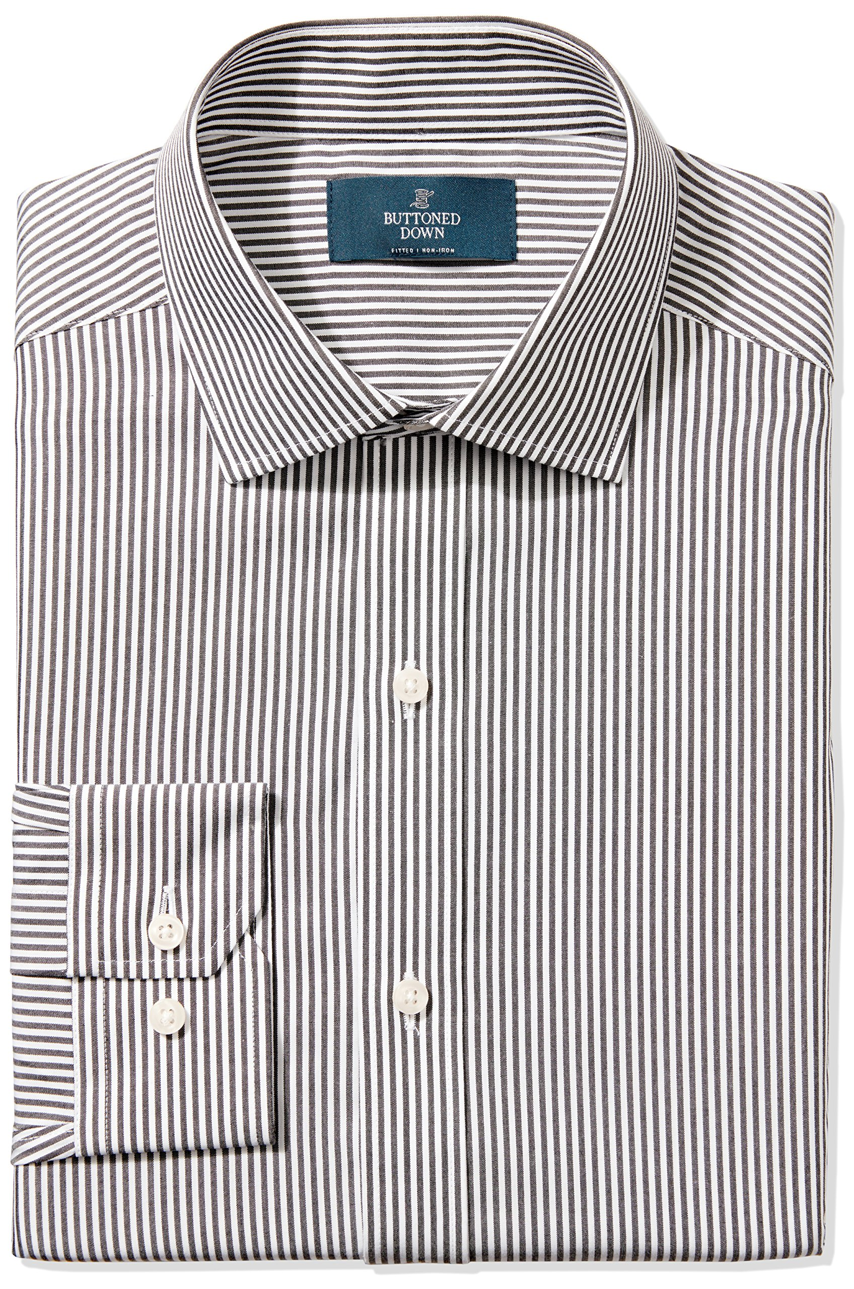 Buttoned Down Men's Fitted Spread-Collar Non-Iron Dress Shirt, Black Bengal Stripe, 20'' Neck 36'' Sleeve (Big and Tall)