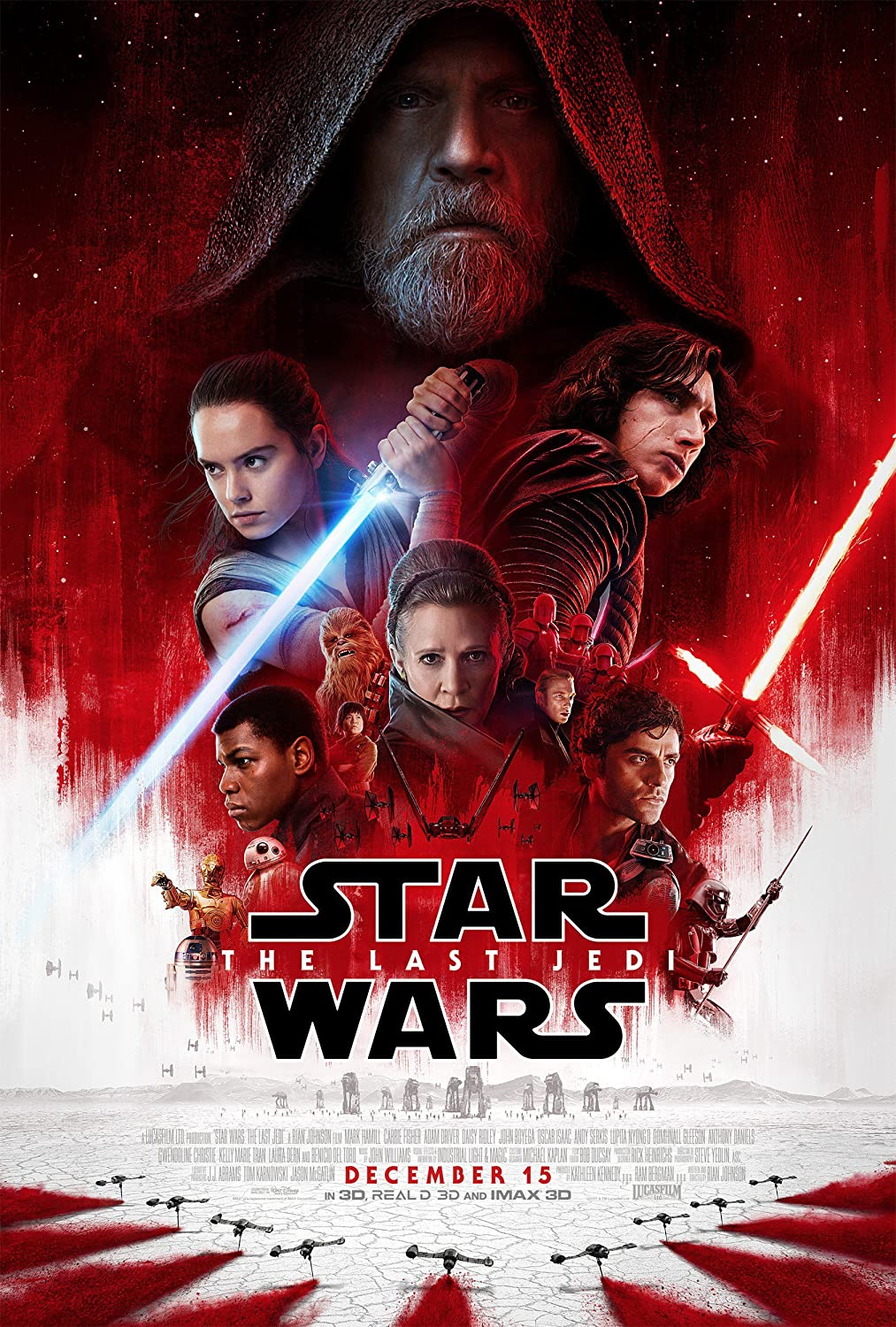 Star Wars The Last Jedi Movie Poster Limited Print Photo Daisy Ridley, John Boyega, Mark Hamill Size 24x36 #2