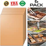 """Terrvana 6-Pack Copper Grill Mats for Gas Grill & Charcoal Grill- 100%. As Seen on TV. Nonstick reusable Mat PFOA & BPA FREE, FDA Approved. Charcoal, Gas, or Electric 15.75"""" x 13"""""""