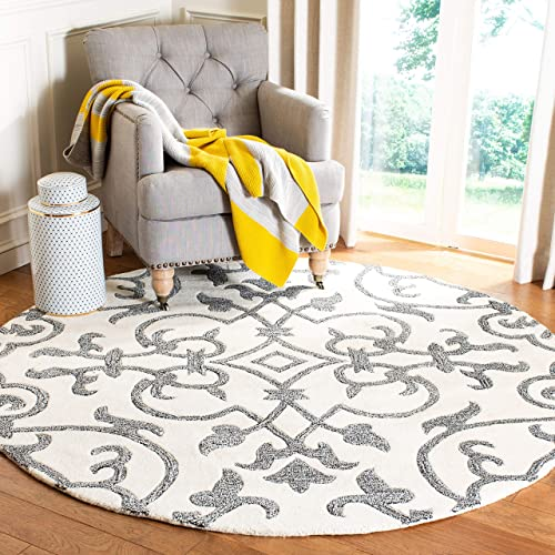 Safavieh Soho Collection SOH840A Handmade Ivory and Grey Premium Wool Round Area Rug 8' Diameter