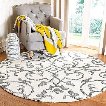 Amazon Com Safavieh Soho Collection Soh840a Handmade Premium Wool Area Rug 8 X 8 Round Ivory Grey Furniture Decor