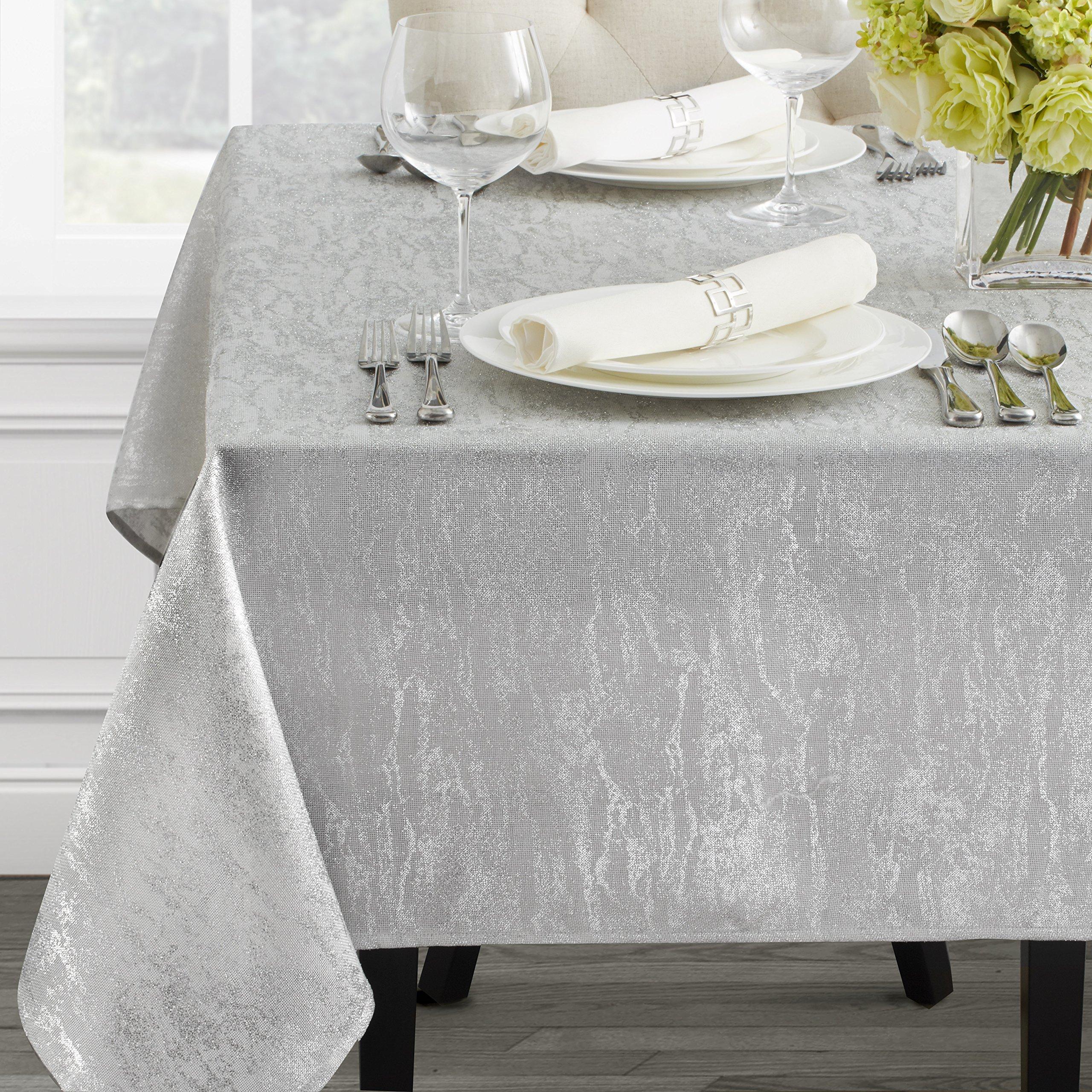 Benson Mills Metals Metallic Tablecloth (60'' x 144'' Rectangular, Ivory-Silver)