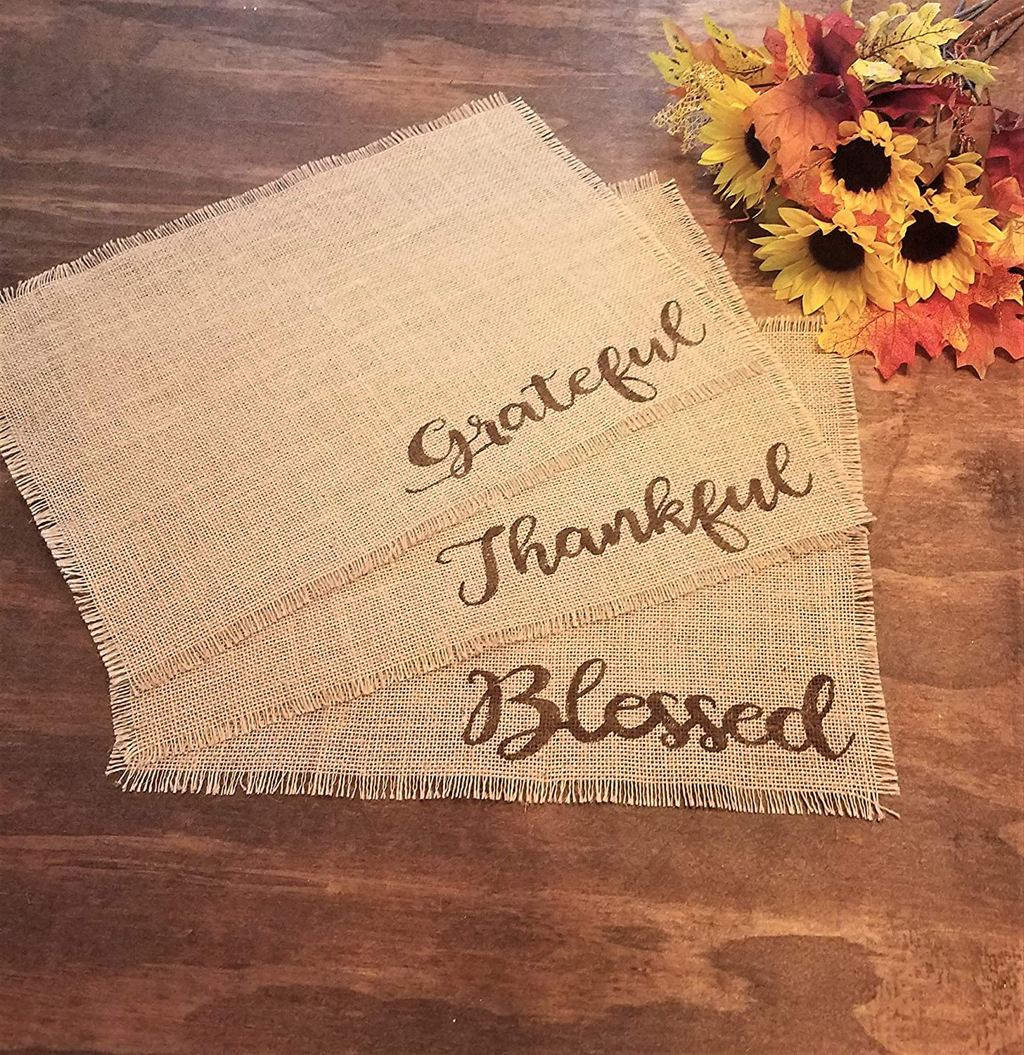 2 Thankful, 2 Grateful, and 2 Blessed Farmhouse Thanksgiving Placemats For Dining Table Set of 6 Rustic Burlap Fall Placemats Unique Holiday Place Mats Natural Fiber With Matching Runner Optional