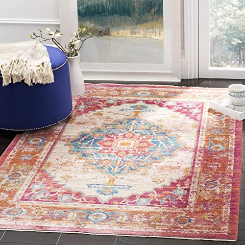 Safavieh Sutton Collection SUT404D Boho Chic Vintage Medallion Distressed Area Rug, 8 x 10 , Fuchsia Ivory