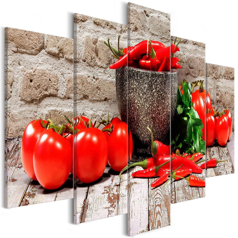 decomonkey Akustikbild Küche Gemüse 200x100 cm 5 Teilig Bilder Leinwandbilder Wandbilder XXL Schallschlucker Schallschutz Akustikdämmung Wandbild Deko leise Paprika Tomate
