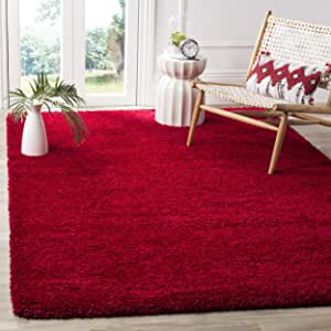 Safavieh Milan Shag Collection SG180-4040 2-inch Thick Area Rug, 3' x 5', Red