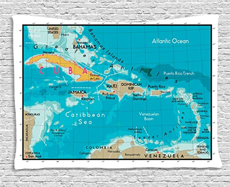Amazoncom Ambesonne Wanderlust Decor Collection Cuba Map And - Map of the caribbean sea