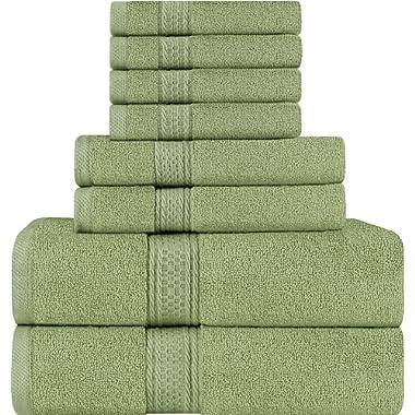 Utopia Towels 8 Piece Towel Set, Sage Green, 2 Bath Towels, 2 Hand Towels, and 4 Washcloths