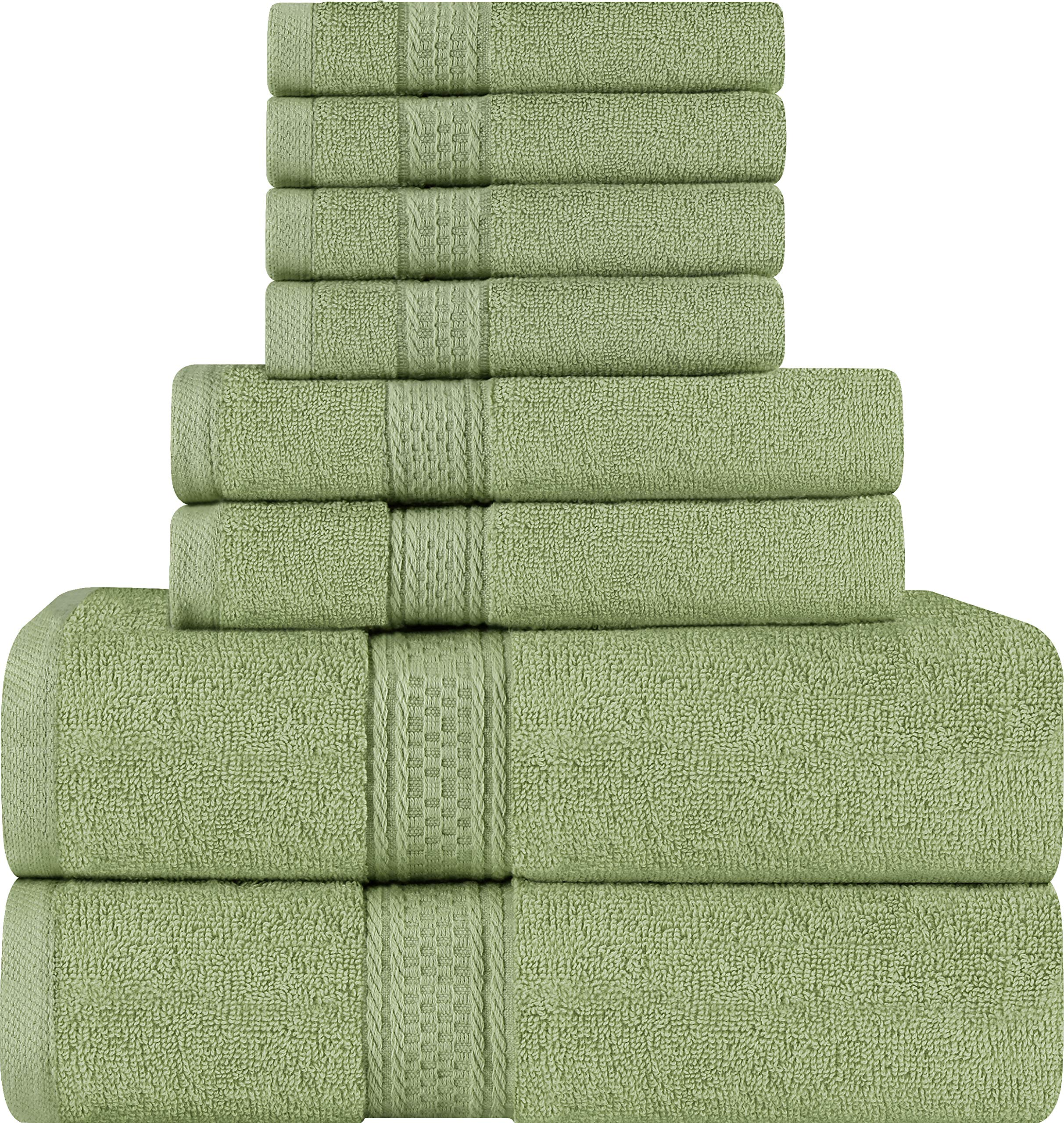 Utopia Towels 8 Piece Towel Set, Sage Green, 2 Bath Towels, 2 Hand Towels, and 4 Washcloths