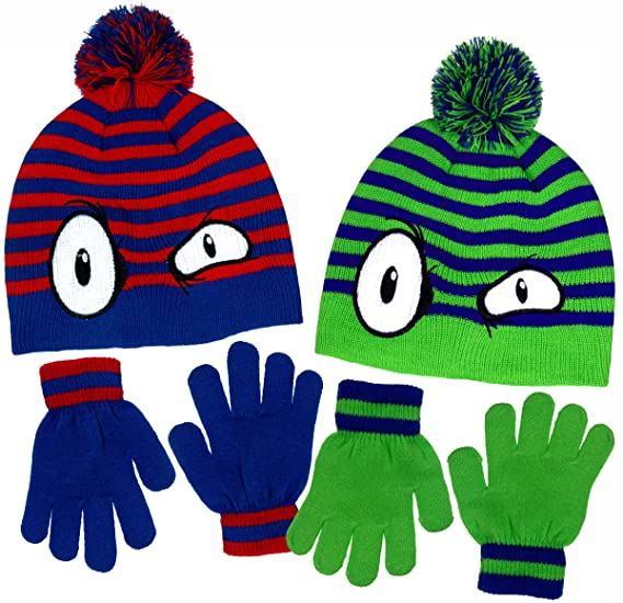 bece8e85b5b Boy s Monster Eyes Knit Beanie   Gloves Set in Red   Blue and Green   Blue