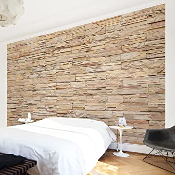 fototapete steintapete asian stonewall groe helle steinmauer aus wohnlichen steinen vliestapete premium querformat - Fototapete Steinmauer Wohnzimmer