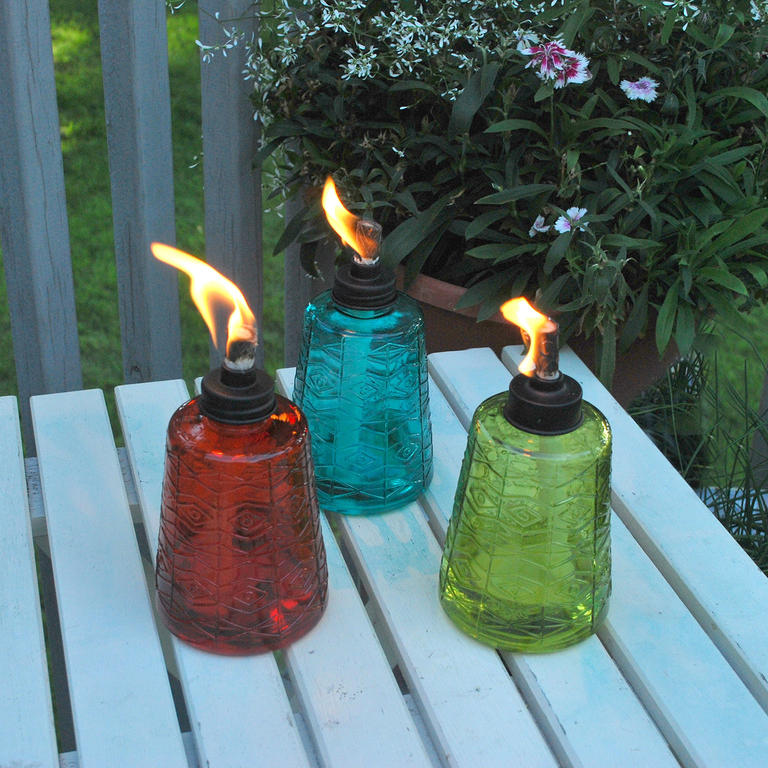 TIKI 6-Inch Molded Glass Table Torch, Red, Green & Blue (Set of 3) by Tiki (Image #3)