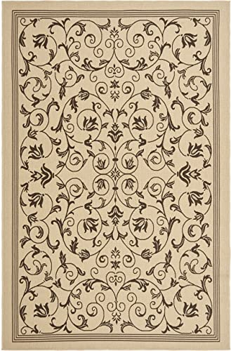 Safavieh Courtyard Collection CY6818-402 Natural and Chocolate Indoor Outdoor Area Rug 6 6 x 9 6