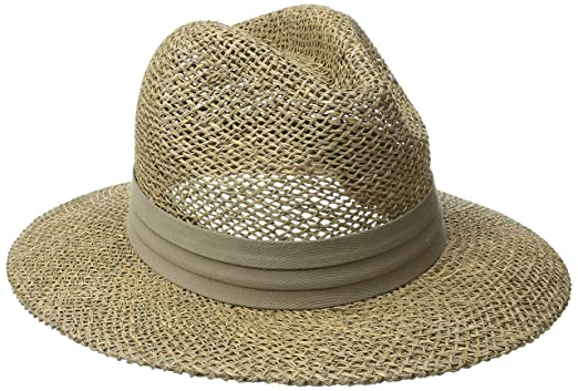 88f018a2c1adb San Diego Hat Co. Men s Seagrass Panama Fedora Hat with Cloth Band ...