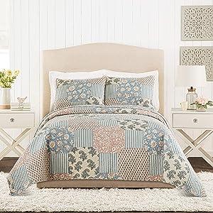 Mary Jane's Home PROVENCAL Rose Quilt Set, Blush, King