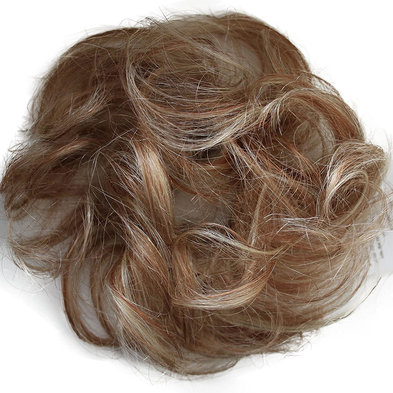 PRETTYSHOP 100% Echthaar Humanhair Haargummi Haarteil hairpiece Haarverdichtung Zopf Haarband Haarschmuck div. Farben (naturschwarz #1B) H312