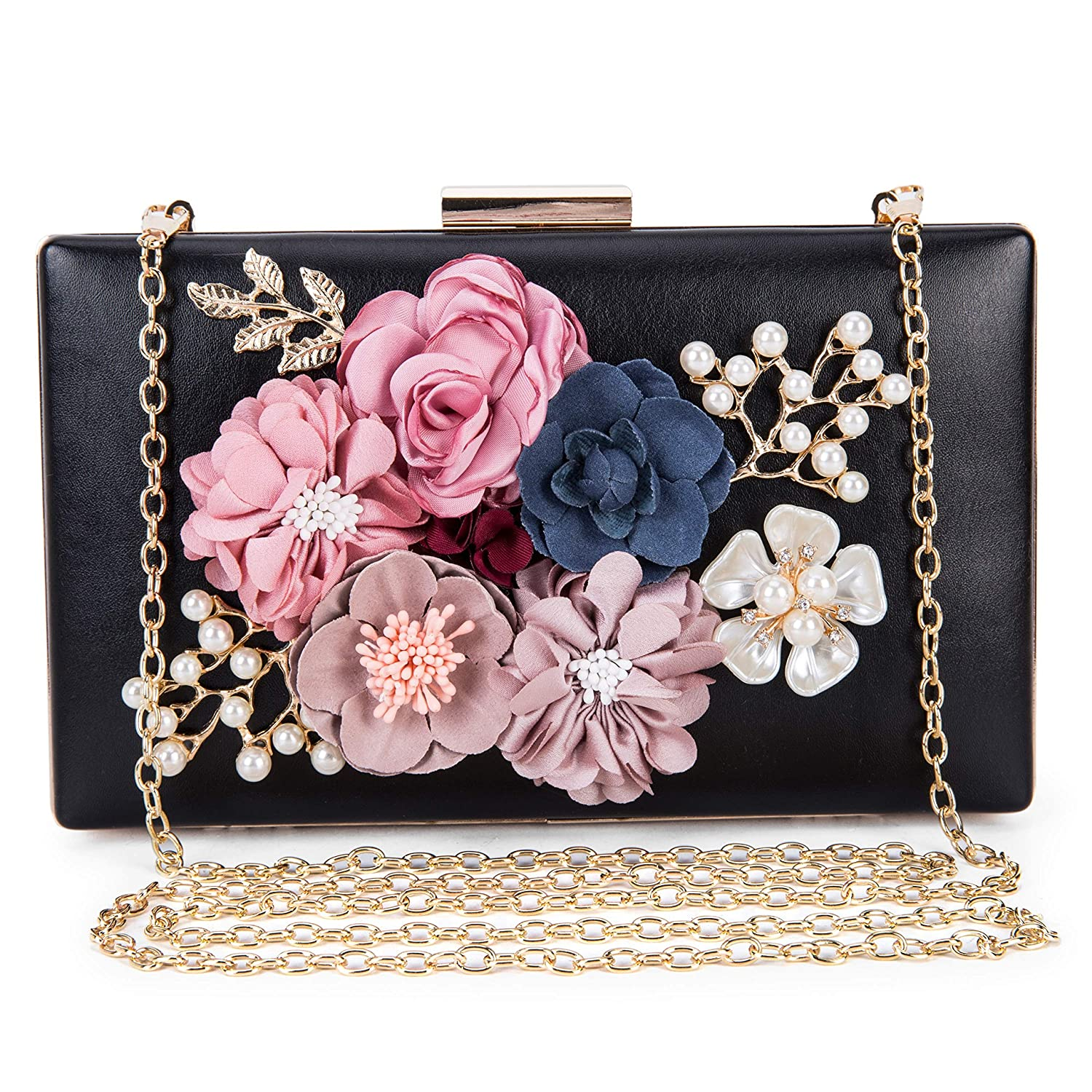 033933531cfd Women s New Evening Handbags Flower Clutch Pearl Bags Wedding Clutch Purse  fit for Cocktail Wedding (Black)  Handbags  Amazon.com