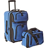 U.S. Traveler Rio Rugged Fabric Expandable Carry-On Luggage Set, Royal Blue, 2-Piece