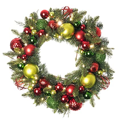 Image Christmas Wreath.30 Inch Artificial Christmas Wreath Festive Holiday Collection Red And Green Decoration Pre Lit With 50 Warm Clear Colored Led Mini Lights
