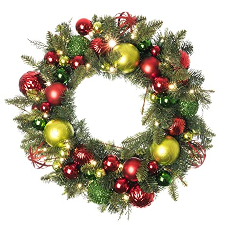 Christmas Green And Red.30 Inch Artificial Christmas Wreath Festive Holiday Collection Red And Green Decoration Pre Lit With 50 Warm Clear Colored Led Mini Lights