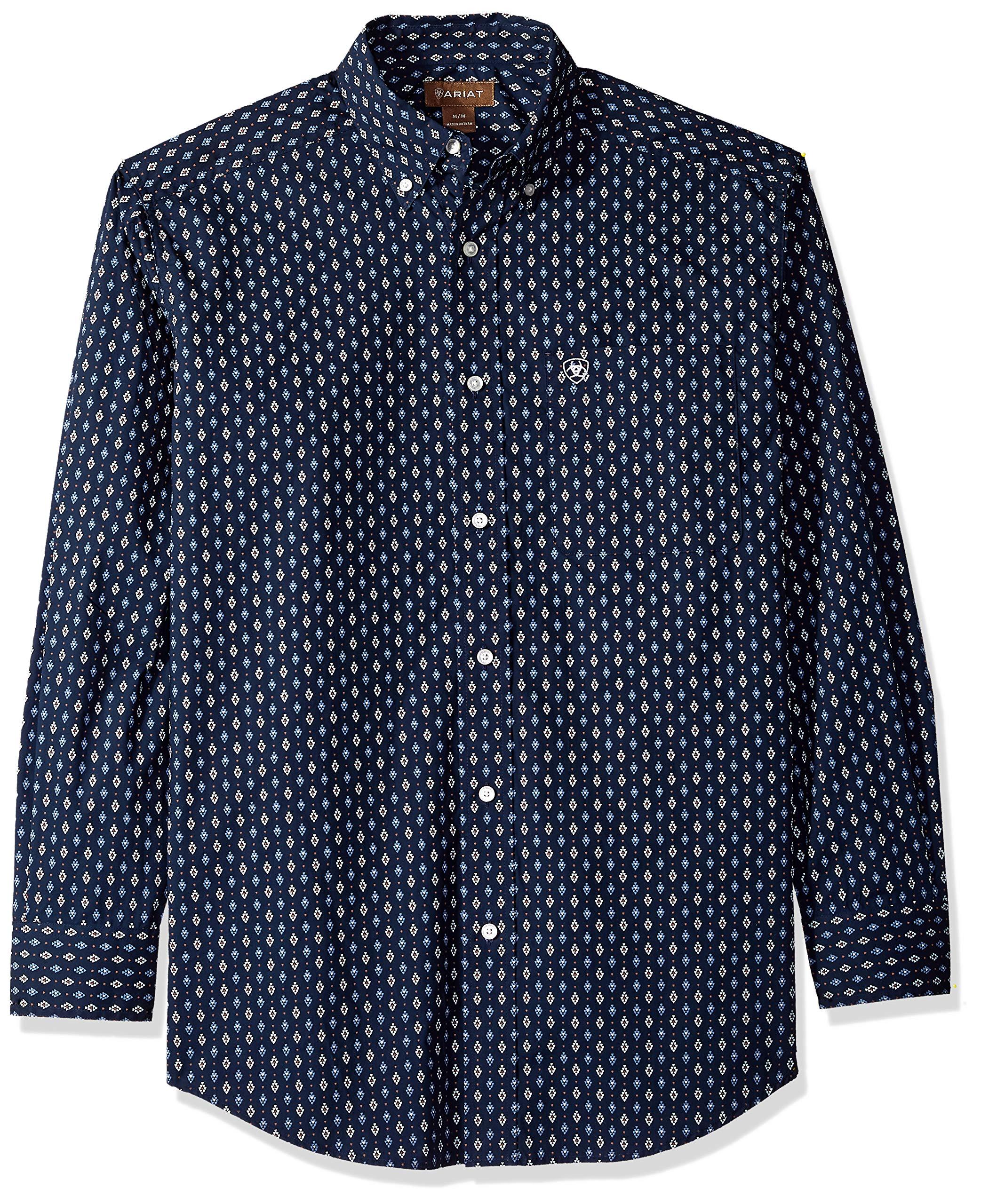 Ariat Men's Classic Fit Long Sleeve Button Down Shirt, Padaman True Navy, XXL