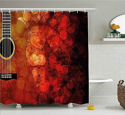 Amazon Com Ambesonne Music Decor Shower Curtain Acoustic Guitar