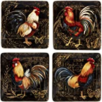 Certified International 23662SET4 Gilded Rooster Dinnerware.Tabletop, One Size, Multicolored