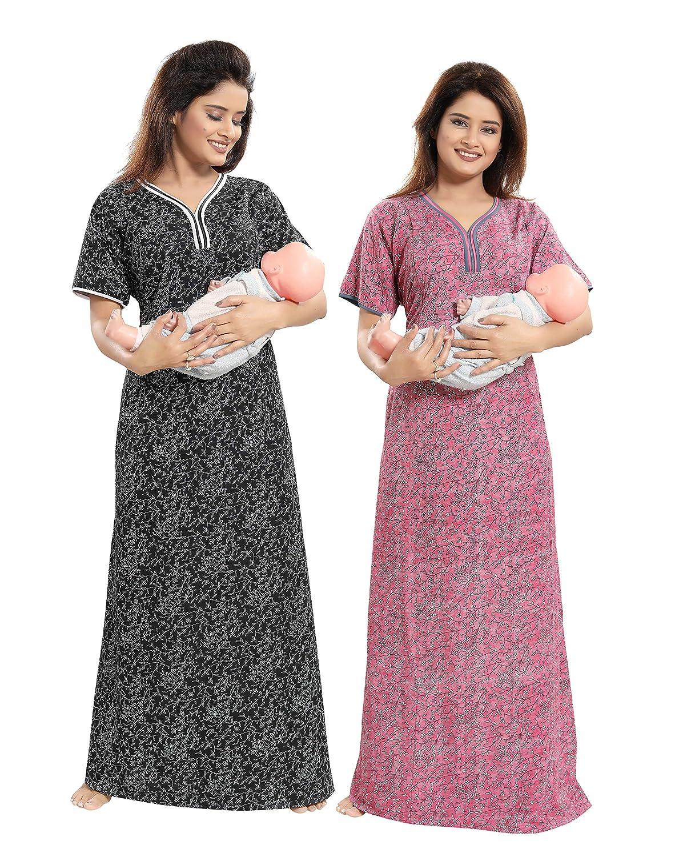 TUCUTE Women Beautiful Print Poly-Cotton Invisible Zip Pattern  Feeding Maternity Nursing Nighty Night Gown Nightwear (Free Size) (Pack of  2 Pcs) Smart Combo b739faf8eb