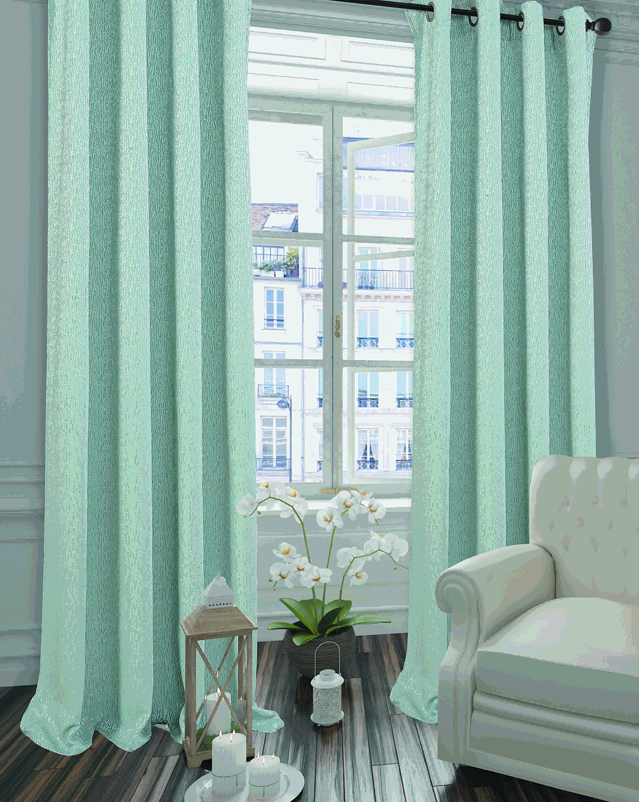 Dainty Home Kingston Grommet Wide Window Panel Pair, Aqua
