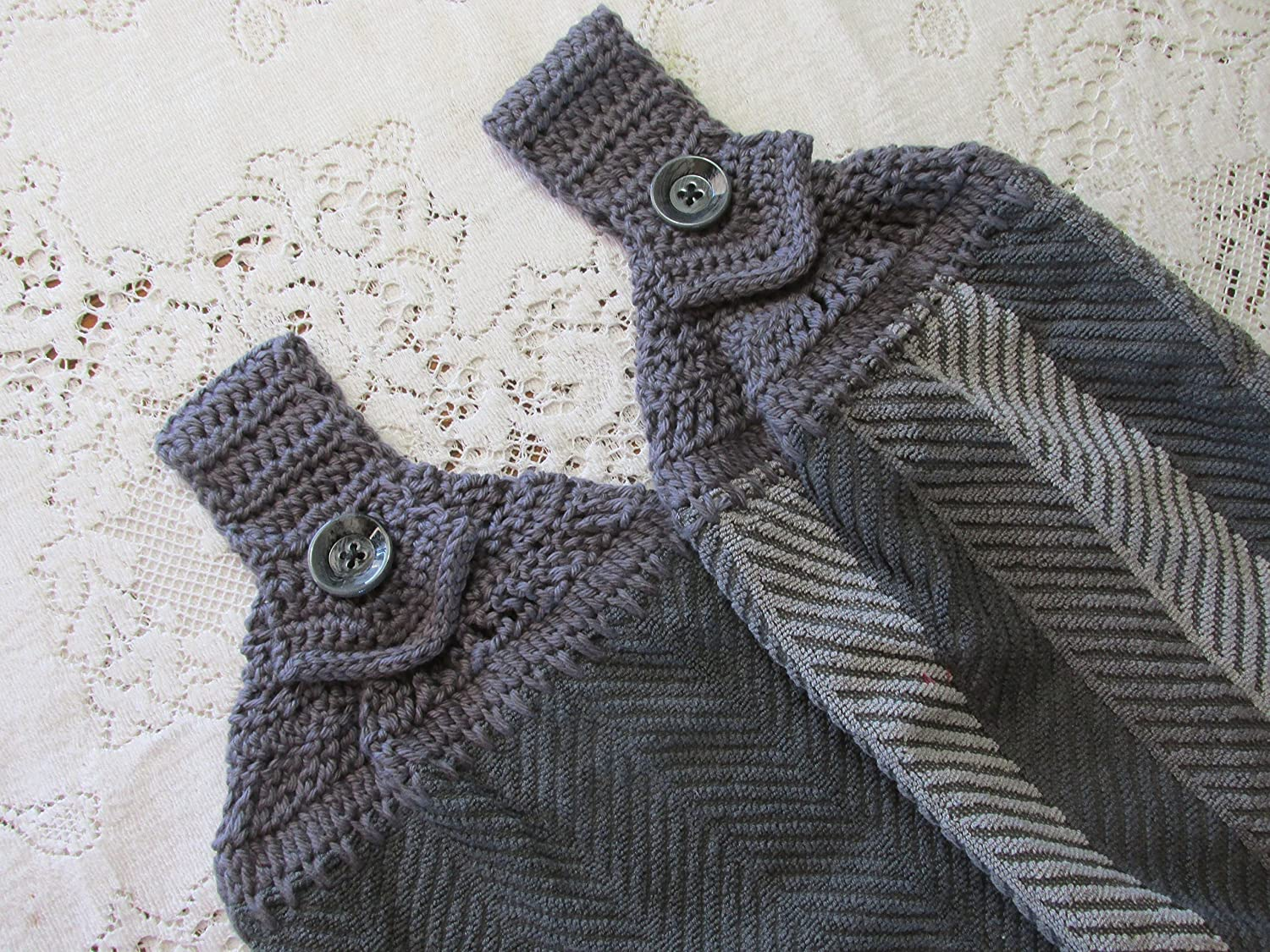 Set of 2 Gray Doubled Chevron Design Hanging Kitchen Towels with Gray Cotton Crochet Top - Best Quality