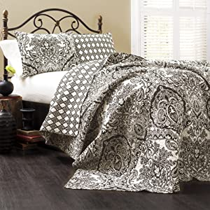 Lush Decor Aubree Quilt Paisley Damask Print Pattern Reversible 3 Piece Lightweight Bedding Blanket Bedspread Set, Full Queen, Black and White