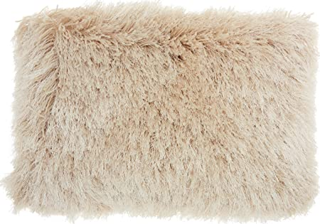 Nourison Mina Victory TL004 Yarn Shimmer Shag Throw Pillow, 20 x 20 , Beige