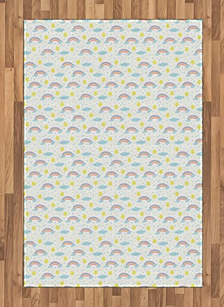 Lunarable Rainbow Area Rug Toddler Boys And Girls Kindergarten Pattern With Sky Elements Clouds