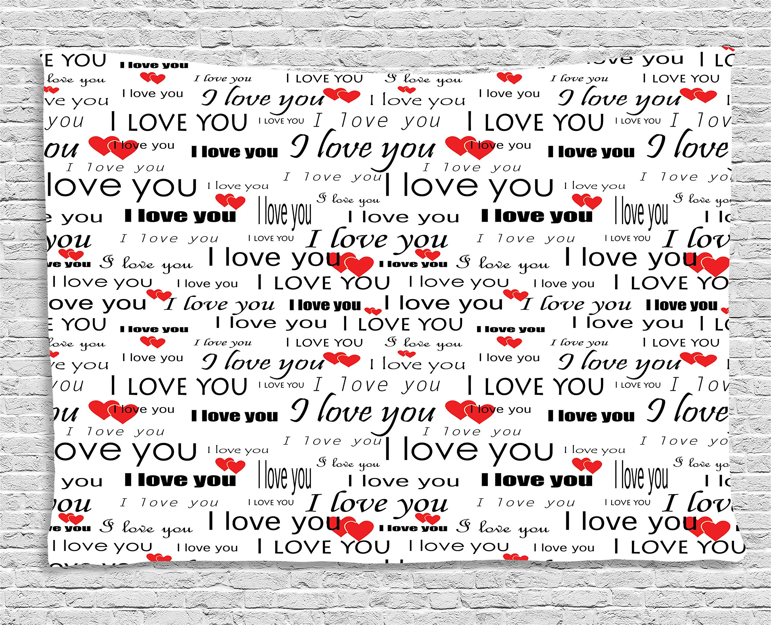 Ambesonne Romantic Tapestry, I Love You Quote with Hearts Romance Couple Valentine Plain Backdrop, Wall Hanging for Bedroom Living Room Dorm, 80 W X 60 L Inches, Vermilion Black White