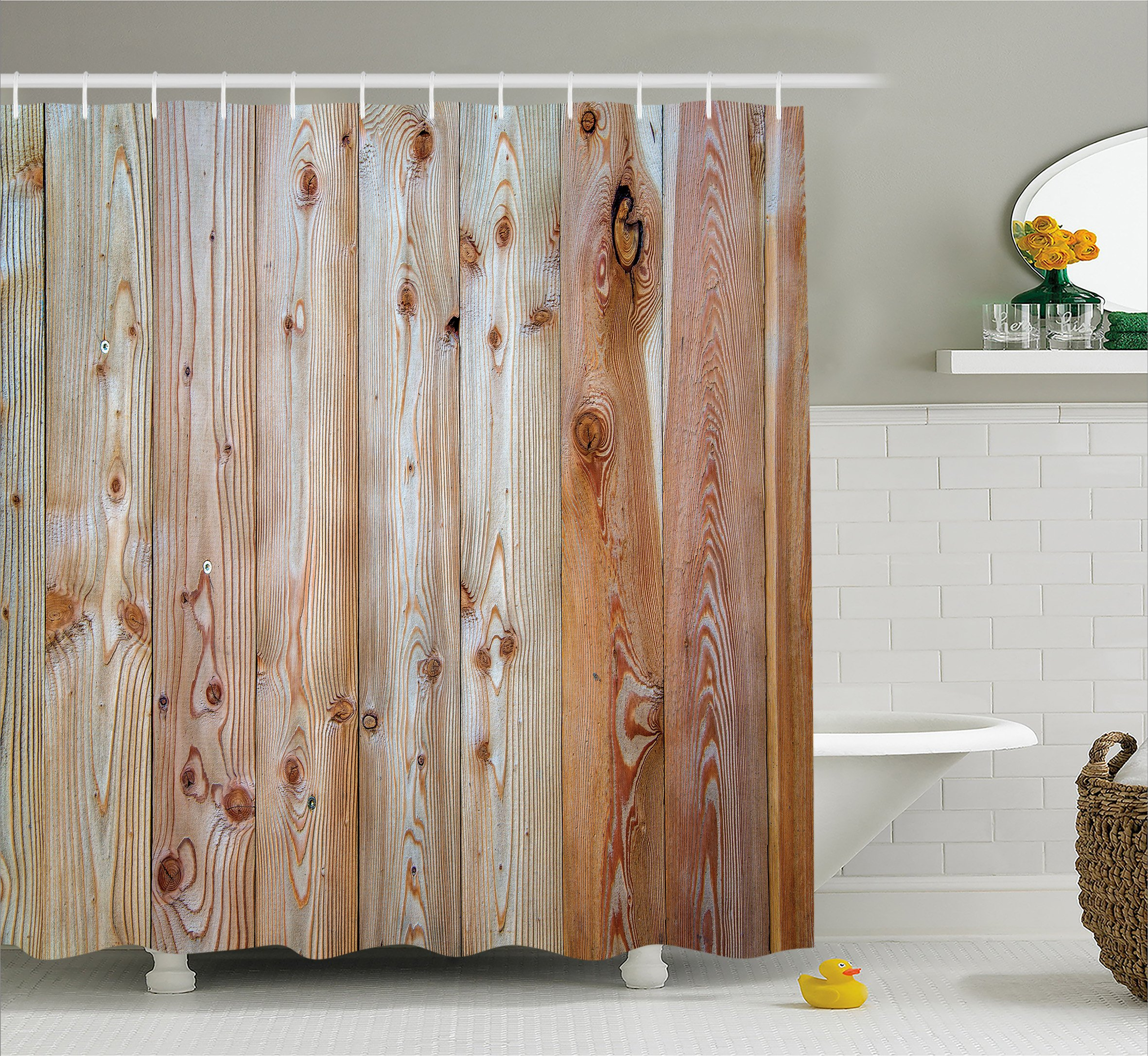 Rustic Home Decor Shower Curtain by Ambesonne, Monochrome Wood Minimalist Rough Lined Up Tiled Logs Row Plank Surface Image, Fabric Bathroom Decor Set with Hooks, 70 Inches, Cream