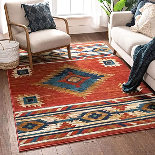 Well Woven Lizette Red Traditional Medallion Area Rug 5×7 5 3 x 7 3