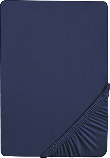 Baumwolle 100x200 cm 90x190 cm saphir Matratzenh/öhe max. 22 cm biberna 0077144 Feinjersey Spannbetttuch