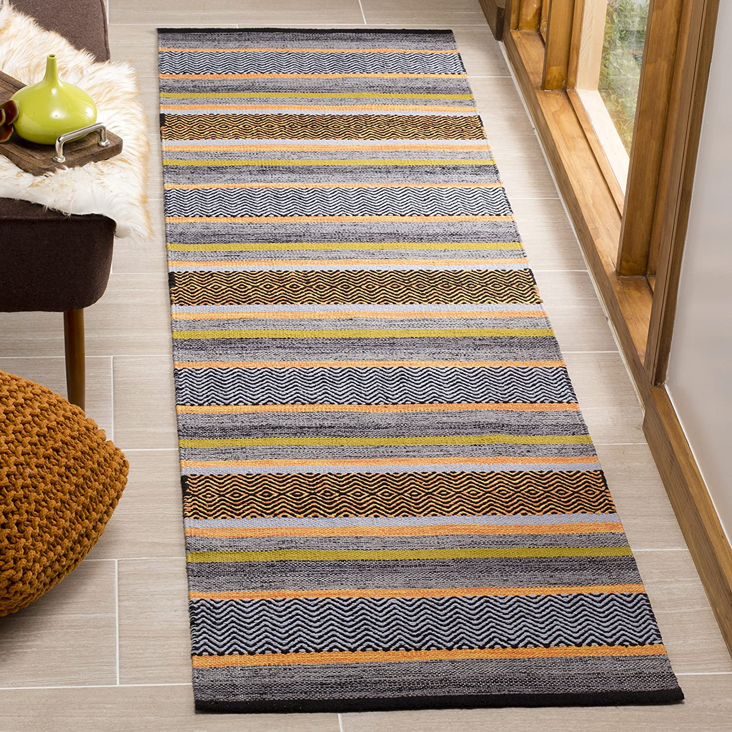 Safavieh Montauk Collection MTK212A Navy and Multi Runner 23 x 8
