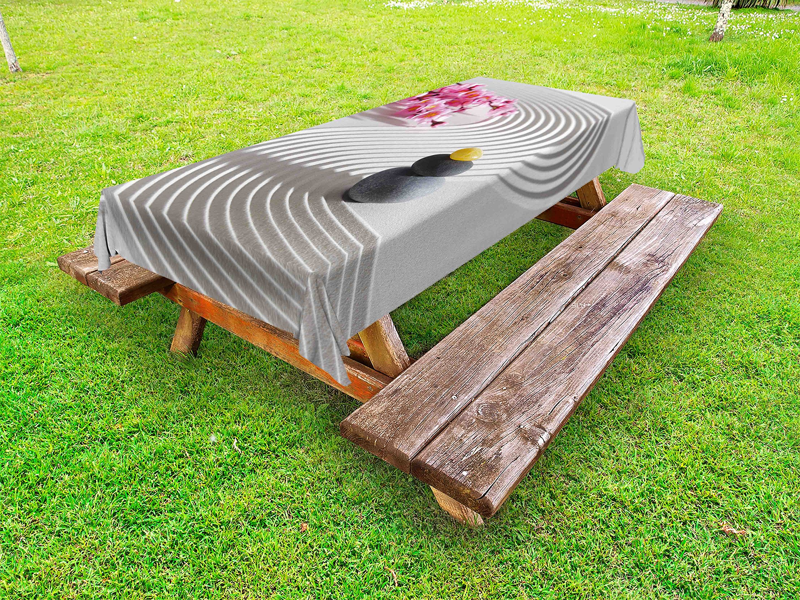 Lunarable Spa Outdoor Tablecloth, Japanese Zen Stones of Meditation Sand with Orchids Relax Yoga Spirit Picture, Decorative Washable Picnic Table Cloth, 58 X 104 inches, Pearl Pink Dimgrey