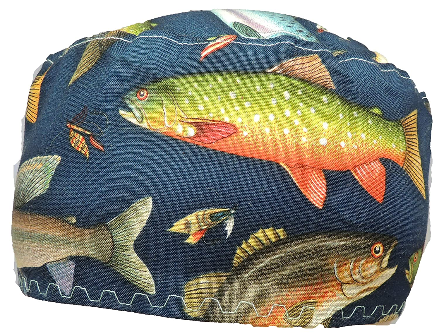 Rainbow Trout Medical Scrub Hat 100/% Cotton with Velcro Closure