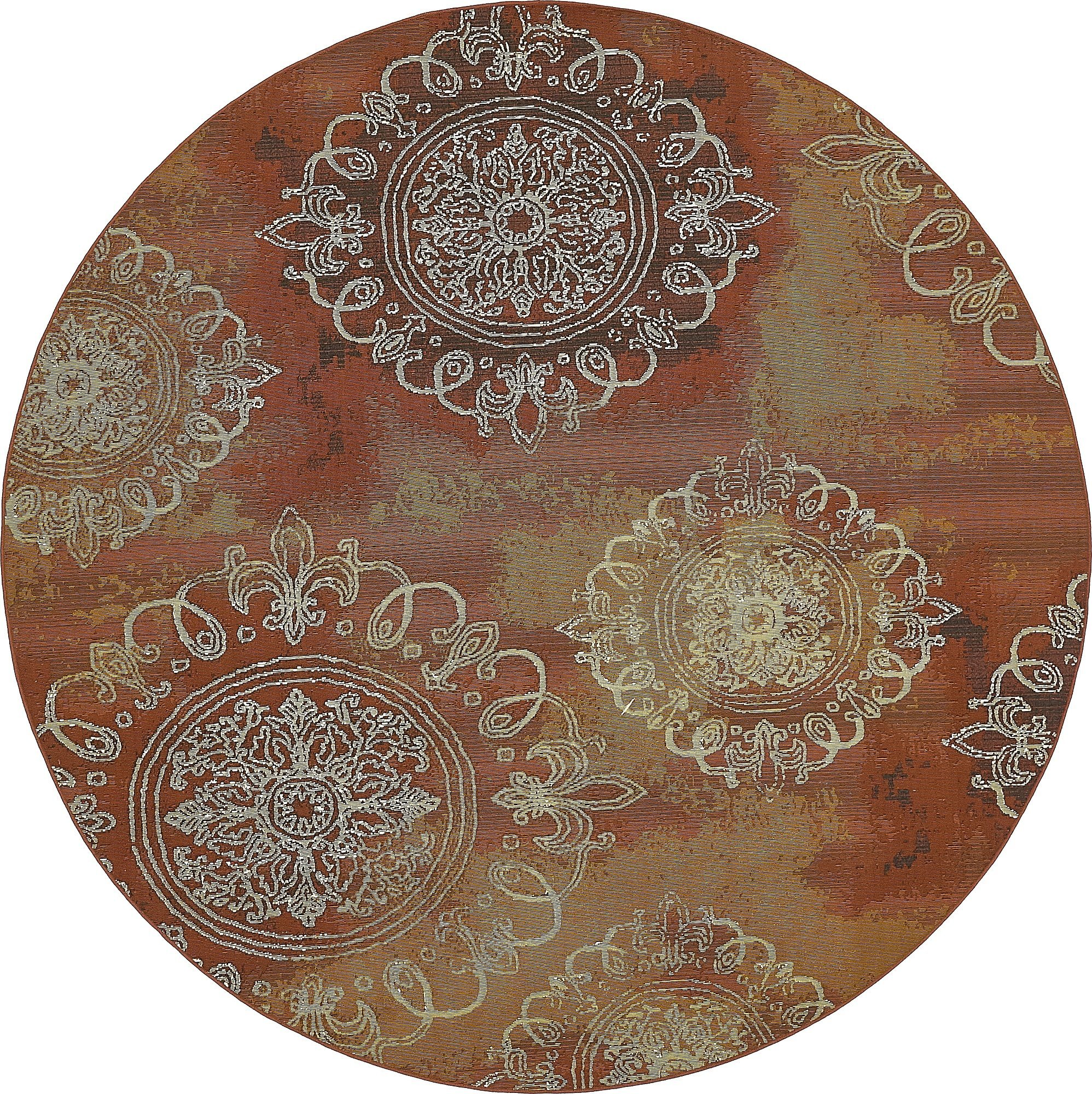 Unique Loom Eden Outdoor Collection Rust Red 8 ft Round Area Rug (8' x 8')