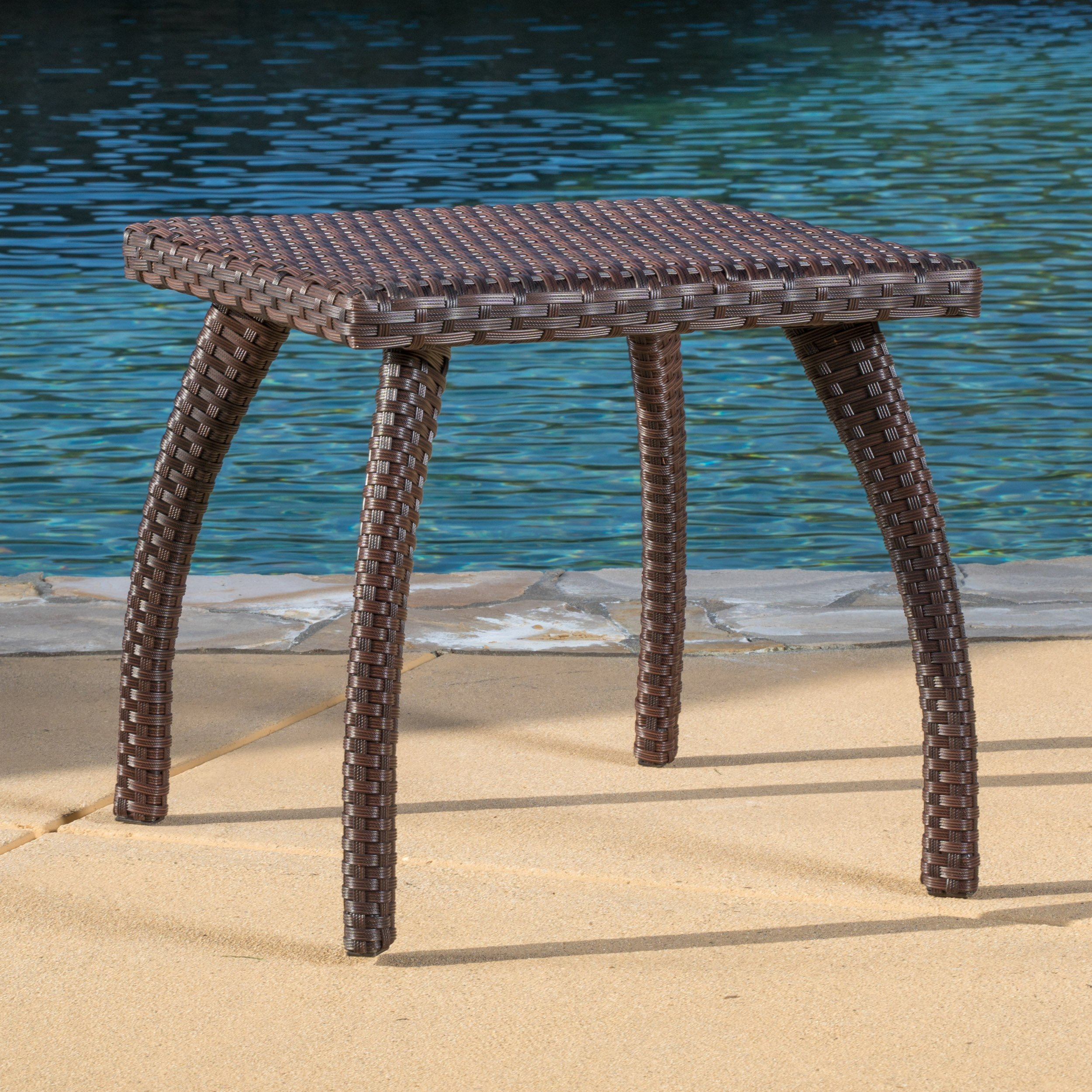 Great Deal Furniture Woodridge Outdoor Brown Wicker Accent Table