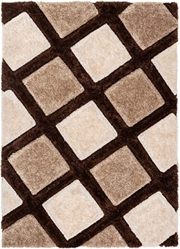 Well Woven Parker Brown Geometric Boxes Thick Soft Plush 3D Textured Shag Area Rug 8×10 7 10 x 9 10