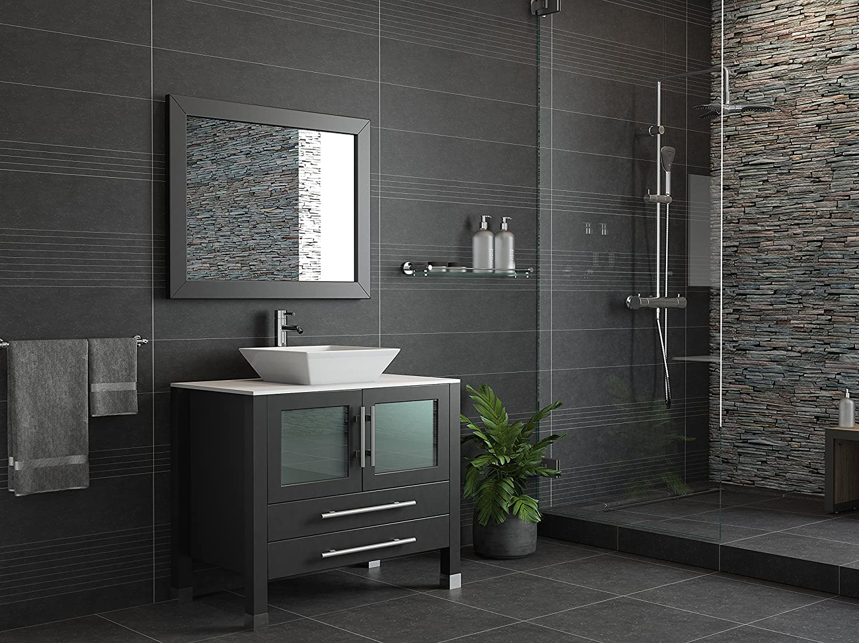 36 Inch Espresso Solid Wood Porcelain Single Vessel Sink Vanity Set- Canton Chrome Faucet