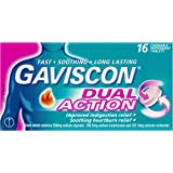 Gaviscon Dual Action Chewable Peppermint Heartburn & Indigestion Relief Tablets (Count of 16)
