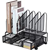 Office Supplies Desk Organizer with Sliding Drawer, 5 Slot File Storage Desktop Organizers, Metal File Folder Sorter…
