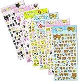 SET034-LOVELY - 6 Sheets Mini Lovely Animal Reusable Puffy Stickers (Cat, Bear, Rabbit, Dog) Size 3.50 X 7.25 Inch./sheet