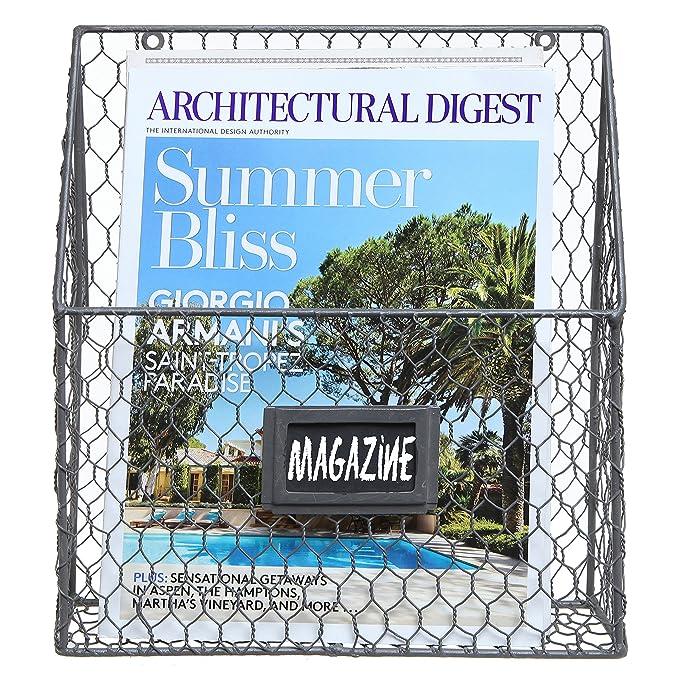 Amazon.com: Black Chicken Wire Design Metal Storage Basket / Wall ...