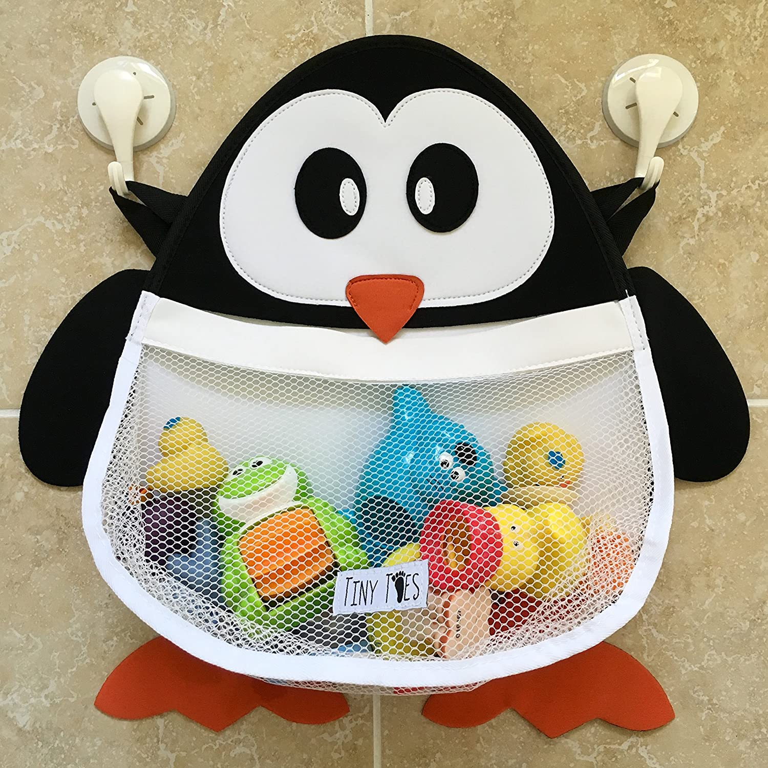 Pip the Penguin Bath Toy Organiser with large capacity Mesh Storage Net and THREE Self-Adhesive Heavy-Duty Strong Reusable Suction Cups that are guaranteed to stick - by TinyToes