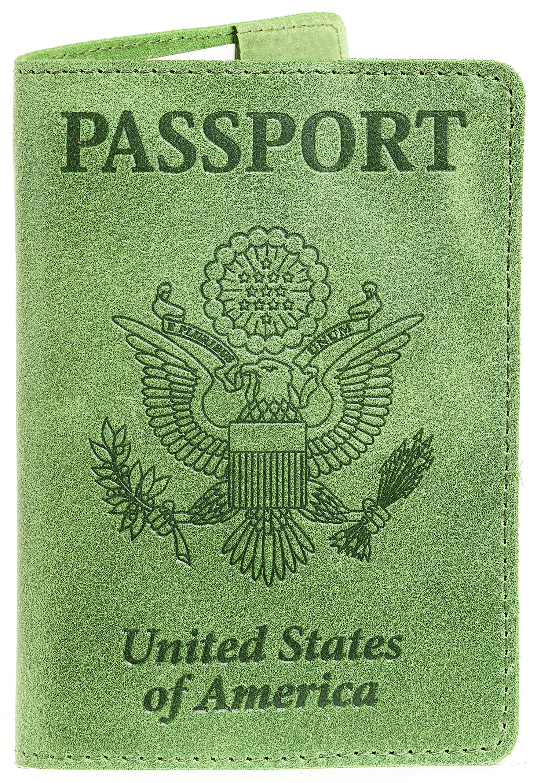 Leather Passport Cover - Passport Holder (Green Lime)